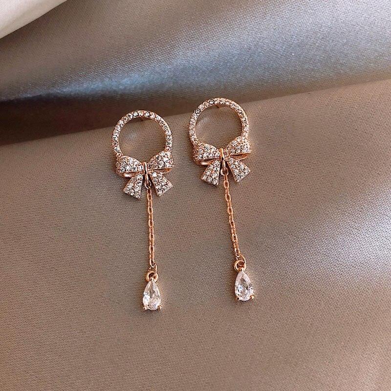 New korea Luxury Elegant Bow and Zircon long Tassel Pendant Earrings for Women Girls Birthday Gift 5S129