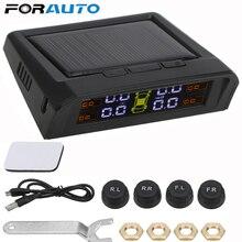 Датчик давления автомобильных шин, Система контроля давления в шинах, солнечная батарея или зарядка от USB, HD ЖК дисплей, автоматический сигнал тревоги, 4 беспроводных внешних датчика