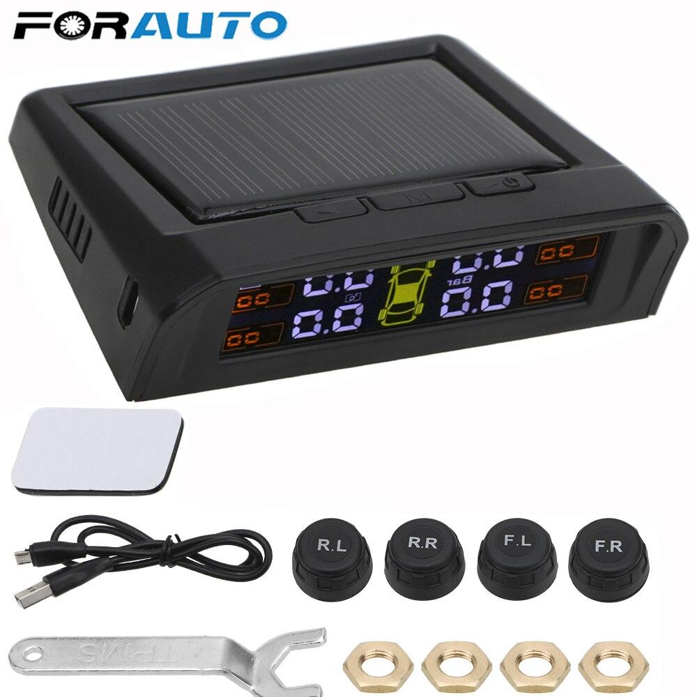Cargador USB o Solar para coche TPMS Sistema de Monitoreo de presión de neumáticos HD pantalla LCD Digital herramienta de alarma automática inalámbrico 4 Sensor externo