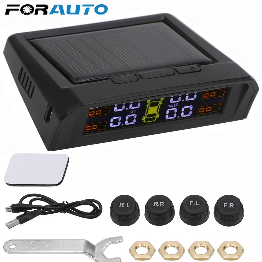 USB Or Solar Charging Car TPMS Tire Pressure Monitoring System HD Digital LCD Display Auto Alarm Tool Wireless 4 External Sensor