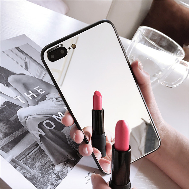 Make up Mirror Phone Case For iphone 11 Pro XS Max 7 8 6s 6 plus X XR Soft edage Make-up Shockproof Cover Mirror Back Case shell 1