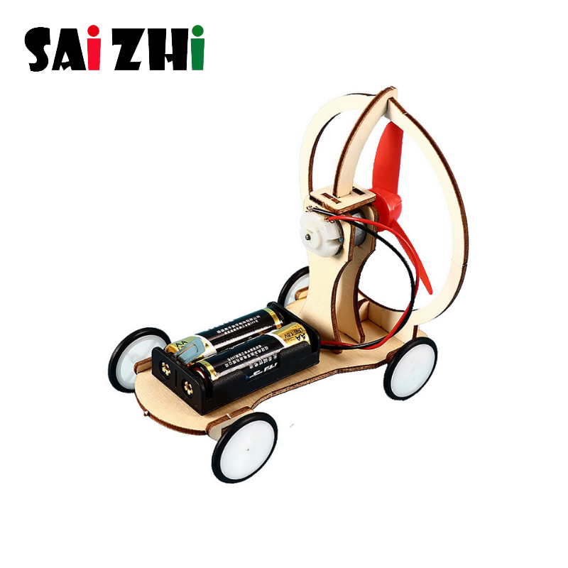 Saizhi DIY Electric Wood Racing Car Assembled Puzzles Scientific Experiment Educational Model Early Learning Toy For Children