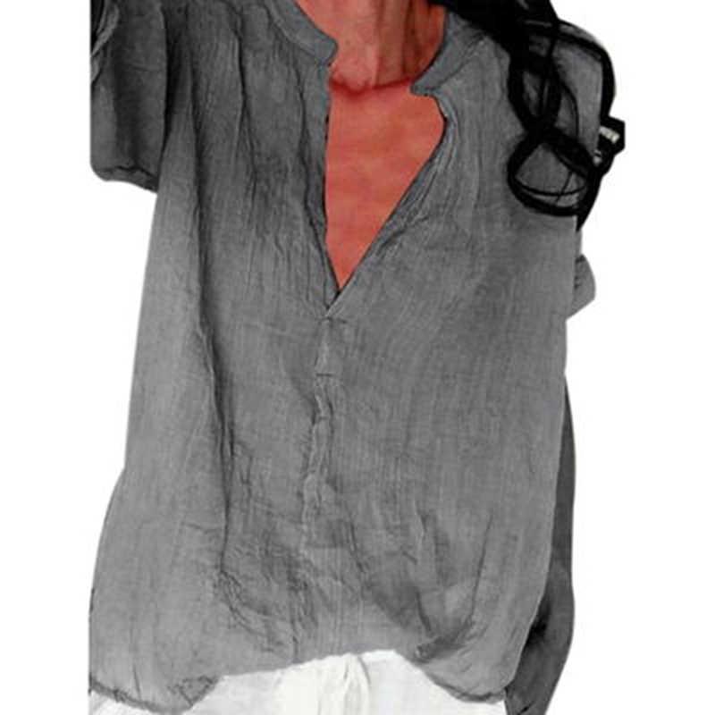 Новая женская рубашка из хлопка и льна с длинным рукавом, женская блузка с v-образным вырезом 2019, осенне-летний Свободный Топ для женщин, большие размеры