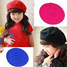 2019 Wool Baby kids Hats with Pearls Beret Cap Candy Color Retro Baby Girl Pearl