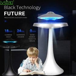 Lámpara de altavoz UFO levitante, lámpara de mesa magnética, luz de noche, bluetooth, sonido envolvente BT, altavoz, lámpara de regalos creativos