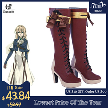ROLECOS chaussures Cosplay violettes Evergarden, bottes Cosplay, taille client, dessin animé