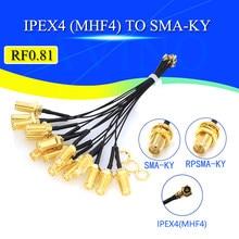 5 pces sma conector cabo fêmea para ipex4 ipx4 mhf4 para sma fêmea rf0.81 antena rg0.81mm conjunto de cabo RP-SMA-K