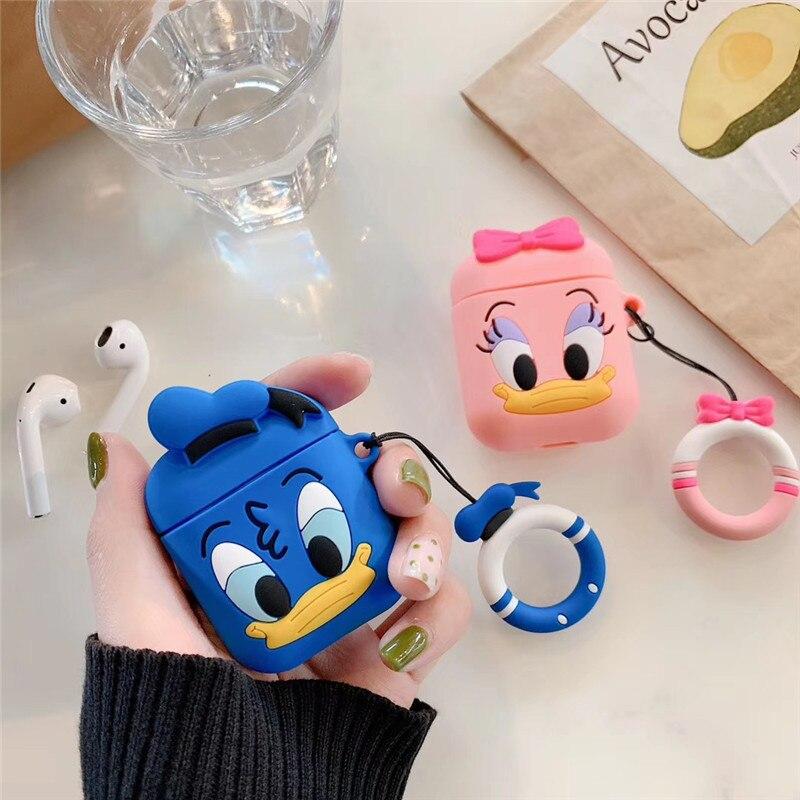 Para Apple Airpods 2 funda protectora de almacenamiento con correa de anillo de dedo caja de carga para AirPods funda bonito Pato Donald auriculares