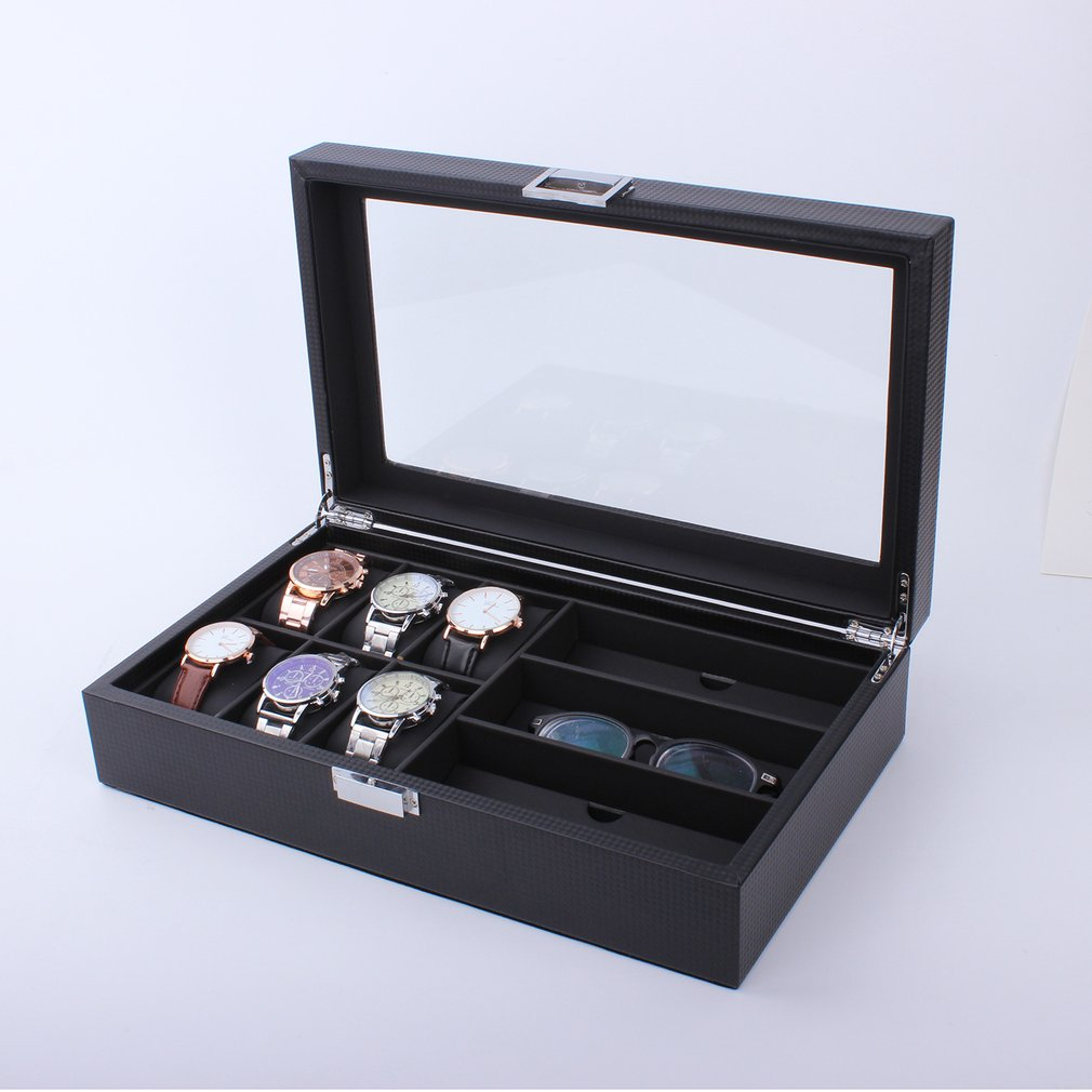 Wooden/Leather 8/10/12 Grids Display Sunglass Case Durable Holder Jewelry Watch  Collection Storage Organizer Box Container 2020
