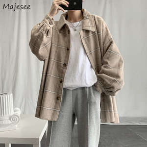 Outerwear Coats Blends Korean-Style Autumn Winter Mens Ulzzang Plaid High-Quality Casual