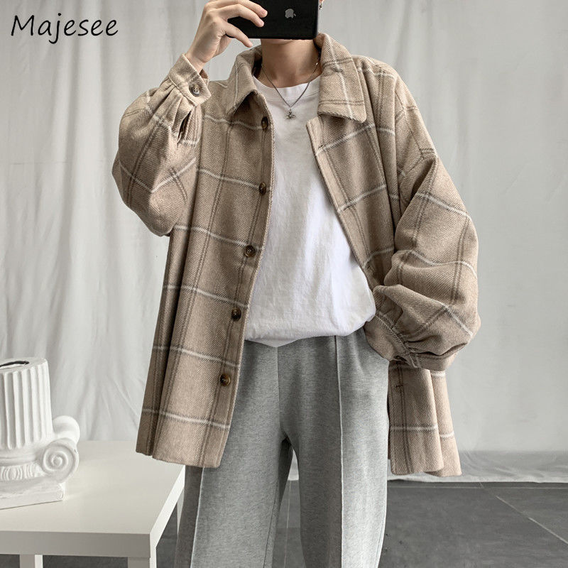 Blends Men Plaid Loose Coats Ulzzang Korean Style High Quality All-match Mens Casual Turn-Down Collar Outerwear Autumn Winter