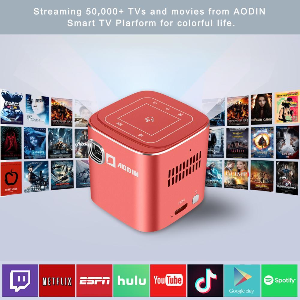 AODIN Fusion 50Ansi Lumens WIFI mini projecteur portable DLP LED projecteur de télévision, prise en charge 1080 P, flux 50000 + TV/films - 3