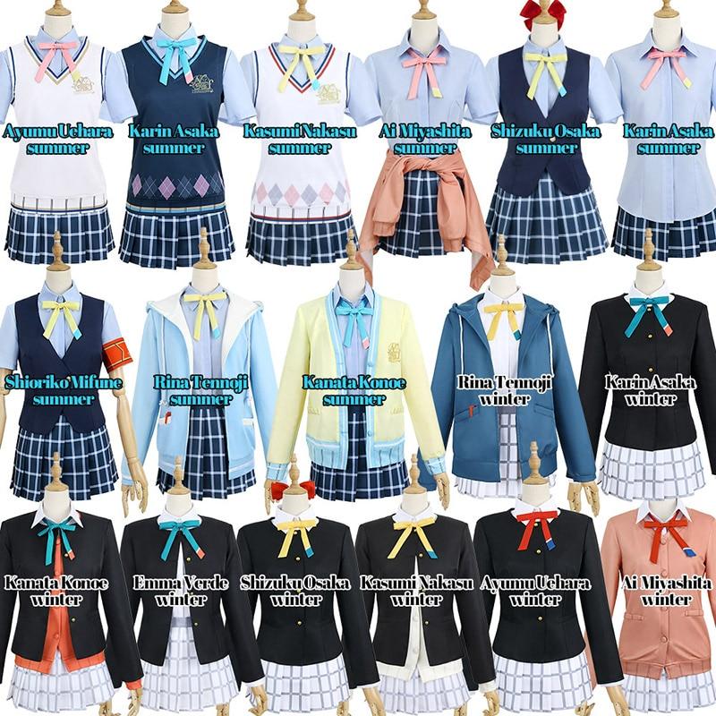Love Live! Nijiguan, школьный идол-клуб, каната, коное, Рина, Tennoji, косплей-костюм, аниме, летняя зимняя форма, бесплатная доставка CG1052CZH