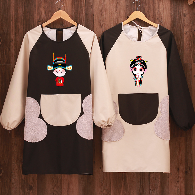 Fashion Large May Hand Cleaning Kitchen Long Sleeve Apron Men And Women Waterproof Oil Resistant Cooking Work Clothes Protective