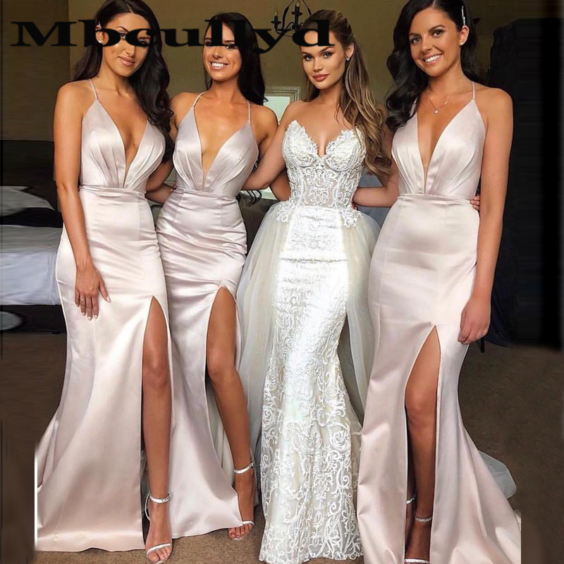 Mbcullyd Wholesale Mermaid Bridesmaid Dresses 2020 Long African Wedding Party Dress With Sexy Split Women Maid Of Honor Gown