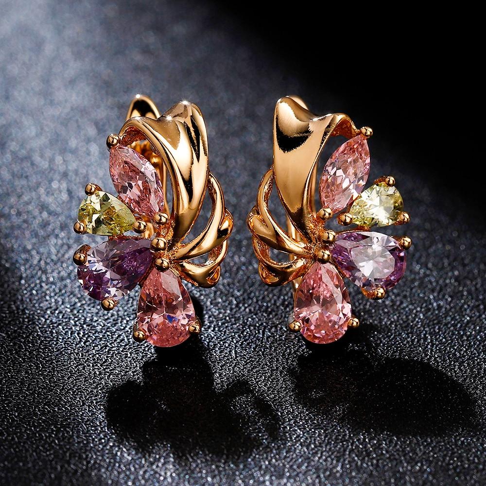 Hanreshe Crystal Stud Earrings Wedding Girl Earrings Copper Vintage Jewelry Minimalist Golden Earring Female Accessories Gift