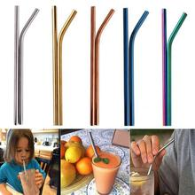все цены на 10Pcs Reusable stainless Steel Straw Smoothies Drinking Sturdy Party Straight Bent Drinking Straws with Cleaner Brush Bar Tools онлайн