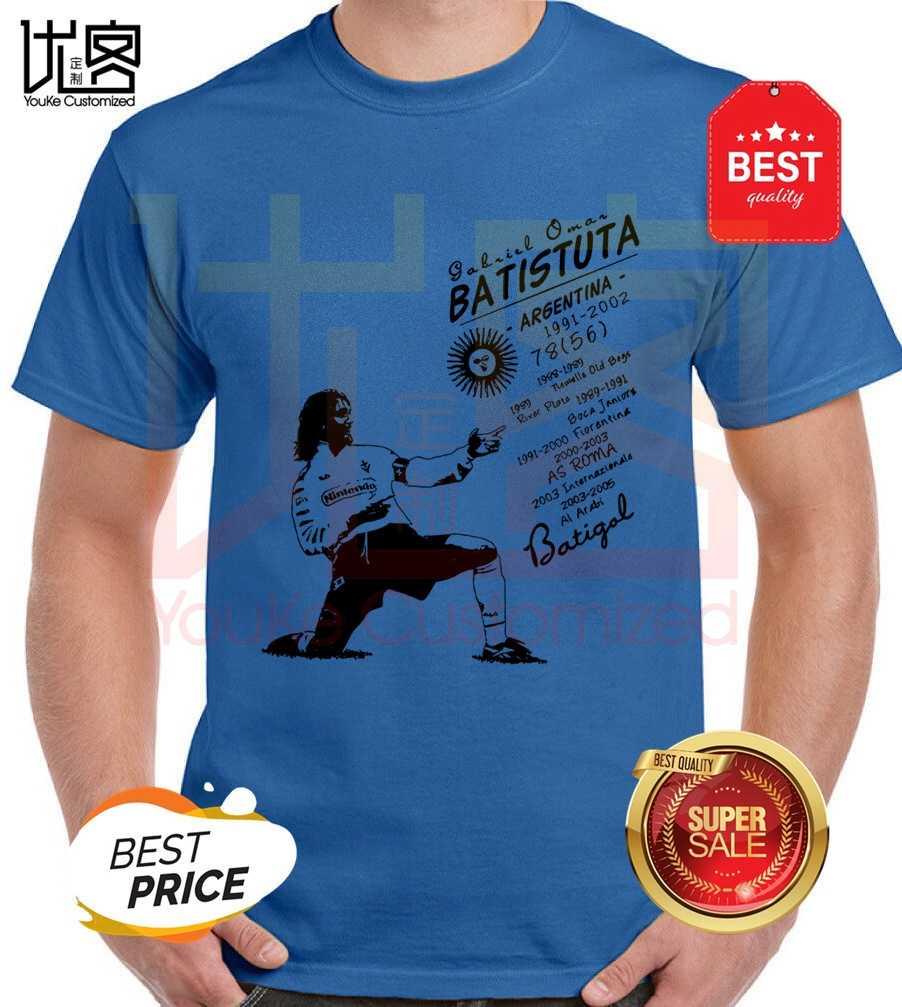 Gabriel omar batistuta roma argentina serie a italiana itália camisa t feminino 100% algodão manga curta topos t