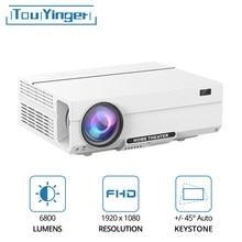 Touyinger t27k hd completo led projetor de vídeo 6800 lumens fhd hdmi-compatib beamer cinema em casa teatro (android 9.0 wifi opcional)