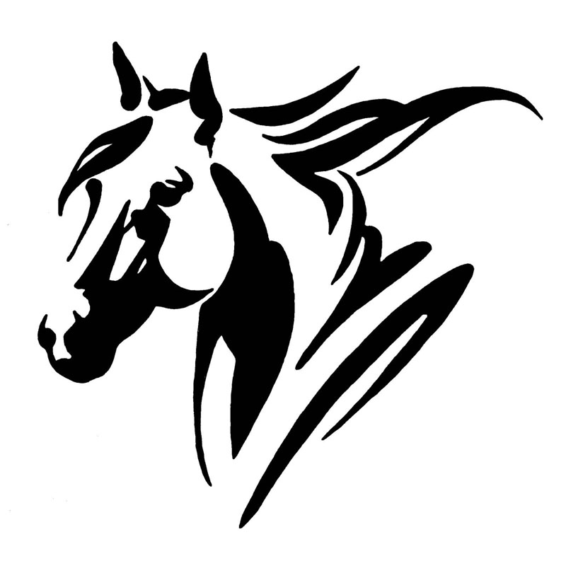 Fun and Personalised Horse Head PVC Reflective Stickers and Car Decals, Black/silver, 20* 19.3cm
