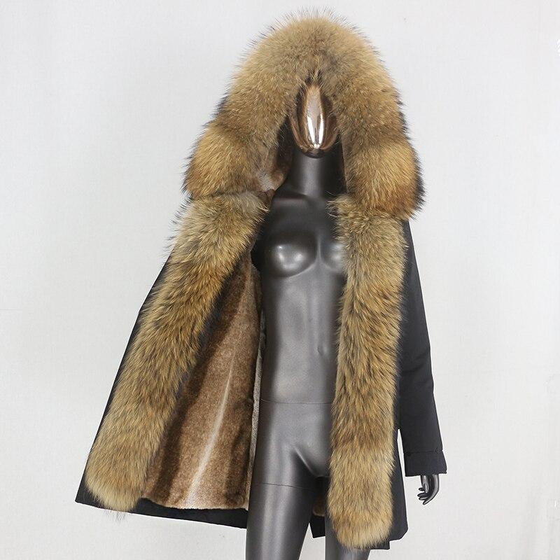 H4a38469efea1464cae1ba4178c2ca20aw CXFS 2021 New Long Waterproof Parka Winter Jacket Women Real Fur Coat Natural Raccoon Fur Hood Thick Warm Streetwear Removable