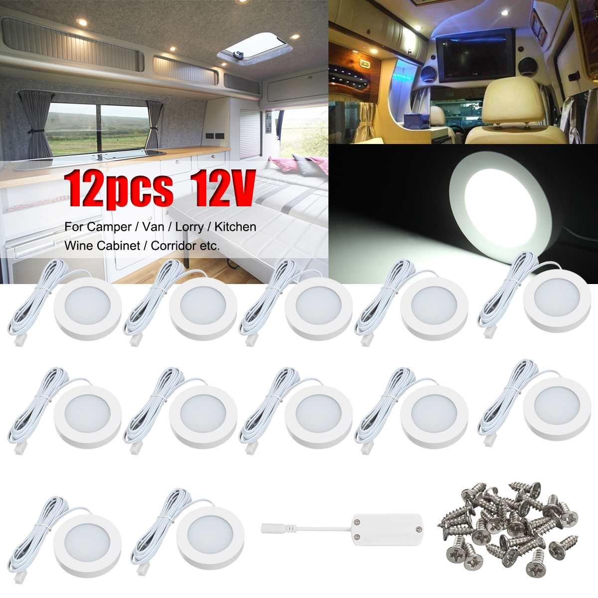 12pcs 12V Car Interior White LED Spot Roof Light White Light 2.5W Reading Lamp For VW T4 T5 Camper Van Caravan Motorhome
