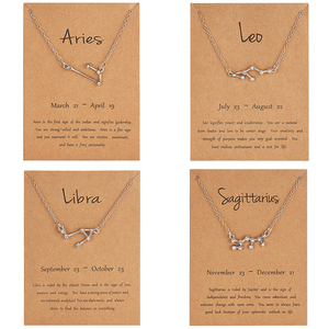 Men Women 12 Horoscope Zodiac Sign Pendant Necklace Aries Leo Metal Chain Choker Necklace 12 Constellation Jewelry Dropshipping