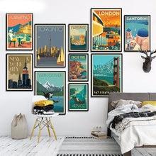 Знаменитый Город путешествия Лондон Нью Йорк Венеция Плакат