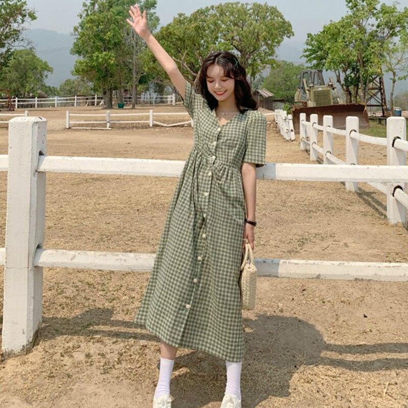 Платье женское однобортное в клетку, свободное милое элегантное цветное в японском стиле, в Корейском стиле, с поясом на резинке, для отдыха