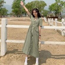 Vestido feminino único breasted japonês xadrez solto vestidos lazer encantador coreano elástico cintura elegante vestido colorido para mulher