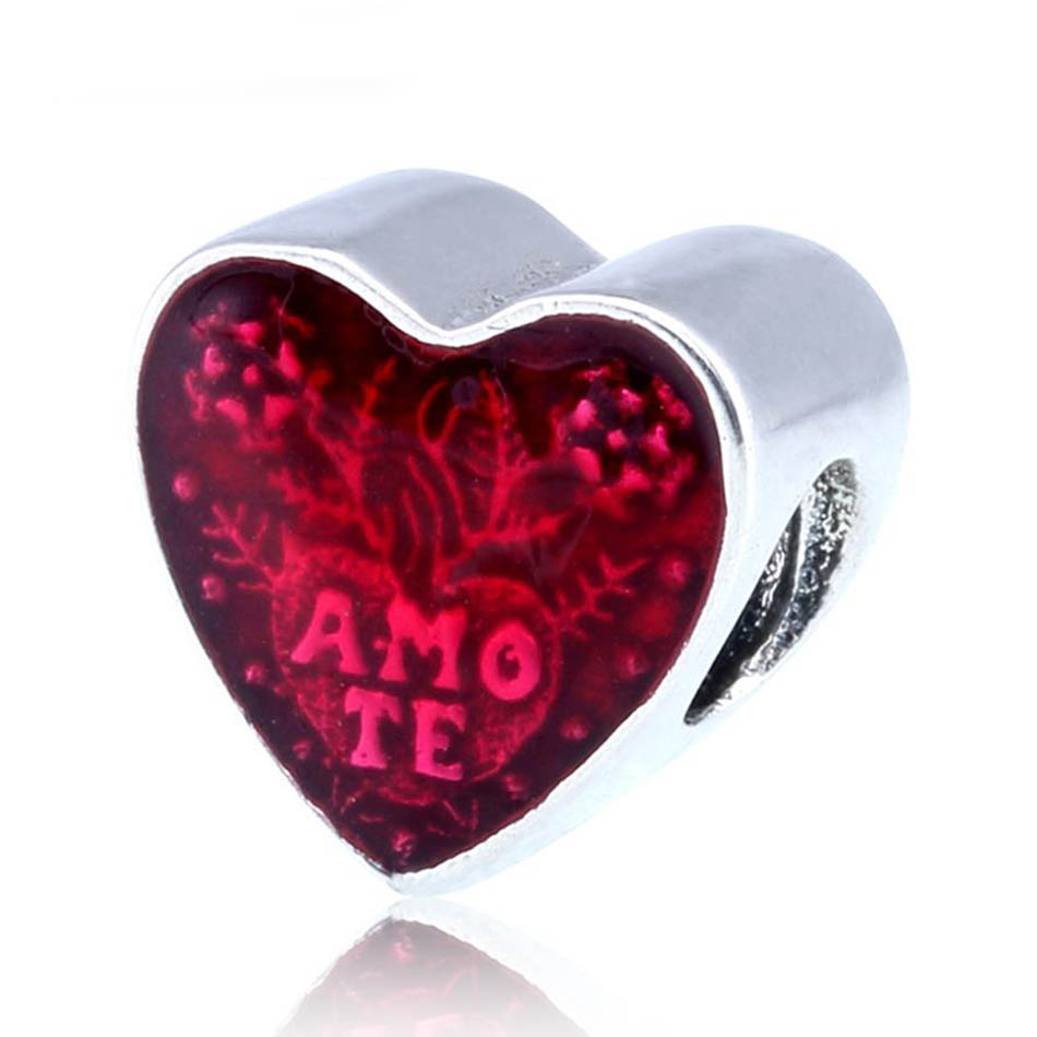 Authentic S925 Bead Enamel Latin Love Heart Charms fit Lady Bracelet Bangle DIY Jewelry(China)