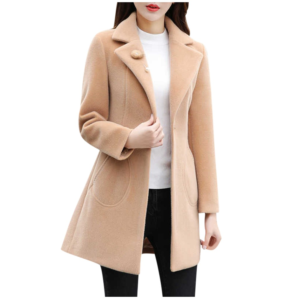 JAYCOSIN Ladies Solid Color New Loose Woolen Coat Slim Fashion Casual Temperament Jacket Wild Autumn And Winter 2019 Hot Sale