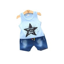 Summer Children Fashion Clothes Suit Baby Boy Girls Casual Vest Denim Shorts 2Pcs/sets Toddler Cotton Clothing Kids Tracksuits 2018 summer children clothing baby boy fashion cotton sleeveless star print top denim shorts baby boys clothing suit 2pcs s2