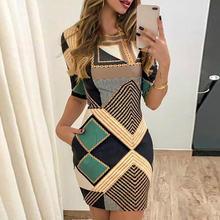 2020 Новое элегантное платье с модным принтом короткими рукавами