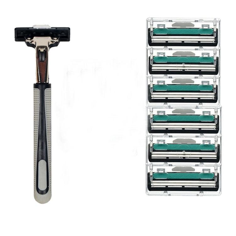 2 Layers 6pcs Shaving Machine Safety Razor Blades Manual Shaving  Face Care Beard Hair Remover