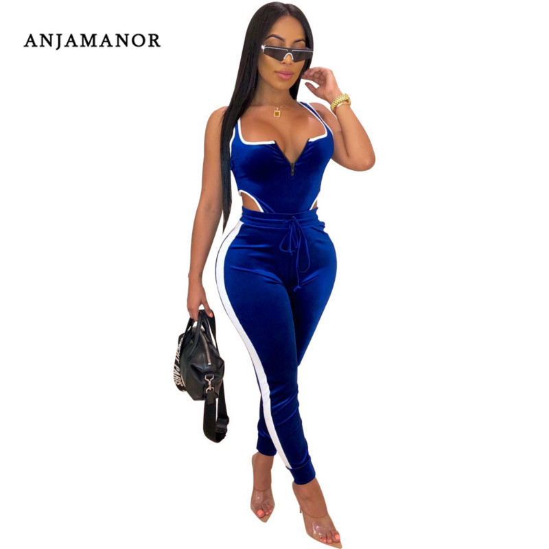 ANJAMANOR Sexy Two Piece Set Top And Pants Blue Velvet Tracksuit 2 Piece Women Fall Outfits Clubwear Matching Sets 2019 D30-AF01