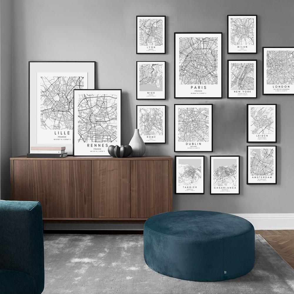 Dublin Paris London New York CUSTOM City Map Black and White Print Wall Art Canvas Painting Nordic Poster Living Room Home Decor
