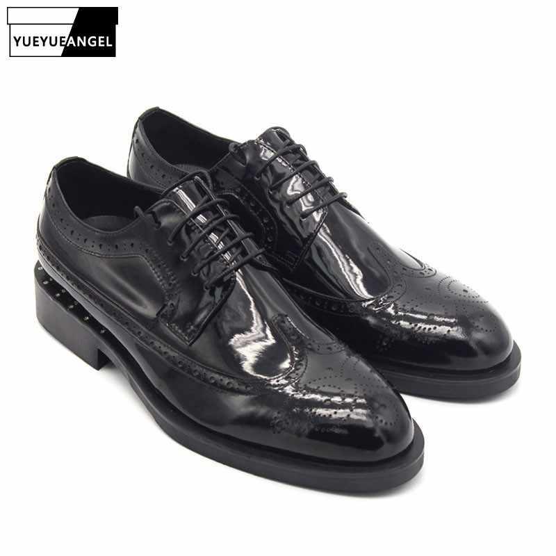 2020 Zapatos de vestir formales de cuero genuino para hombre Zapatos de punta de ala creciente de altura para hombre negro zapato Social masculino calzado masculino us1.5