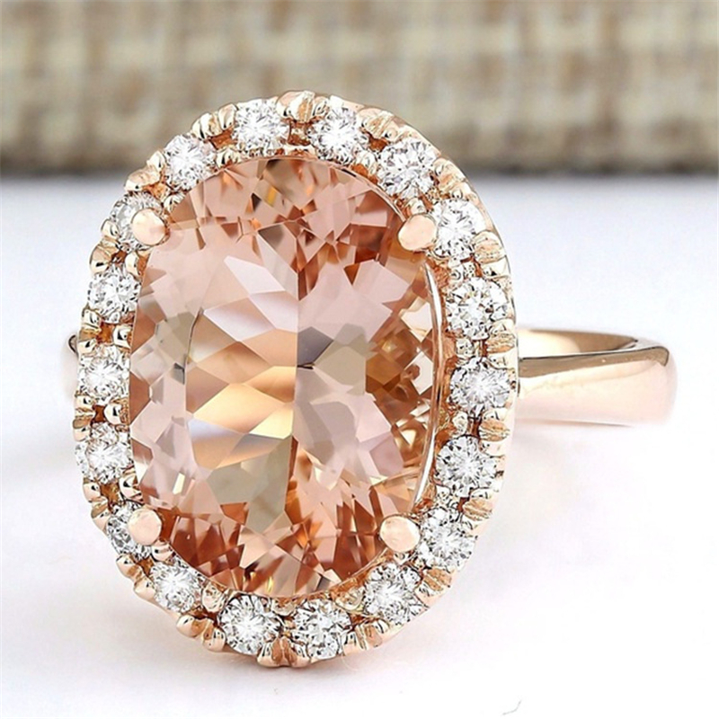 14K Rose Gold Close Women's Diamond Ring Stone Champagne Topaz Diamonds Jewelry Bizuteria Gold Sterling Silver Jewelry Gemstone