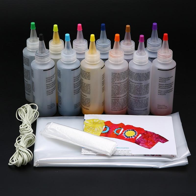12pcs Tie Dye Kit Non-toxic DIY Garment Graffiti Fabric Textile Paint 120ml Colorful Clothing Tie Dye Kit Pigment Set