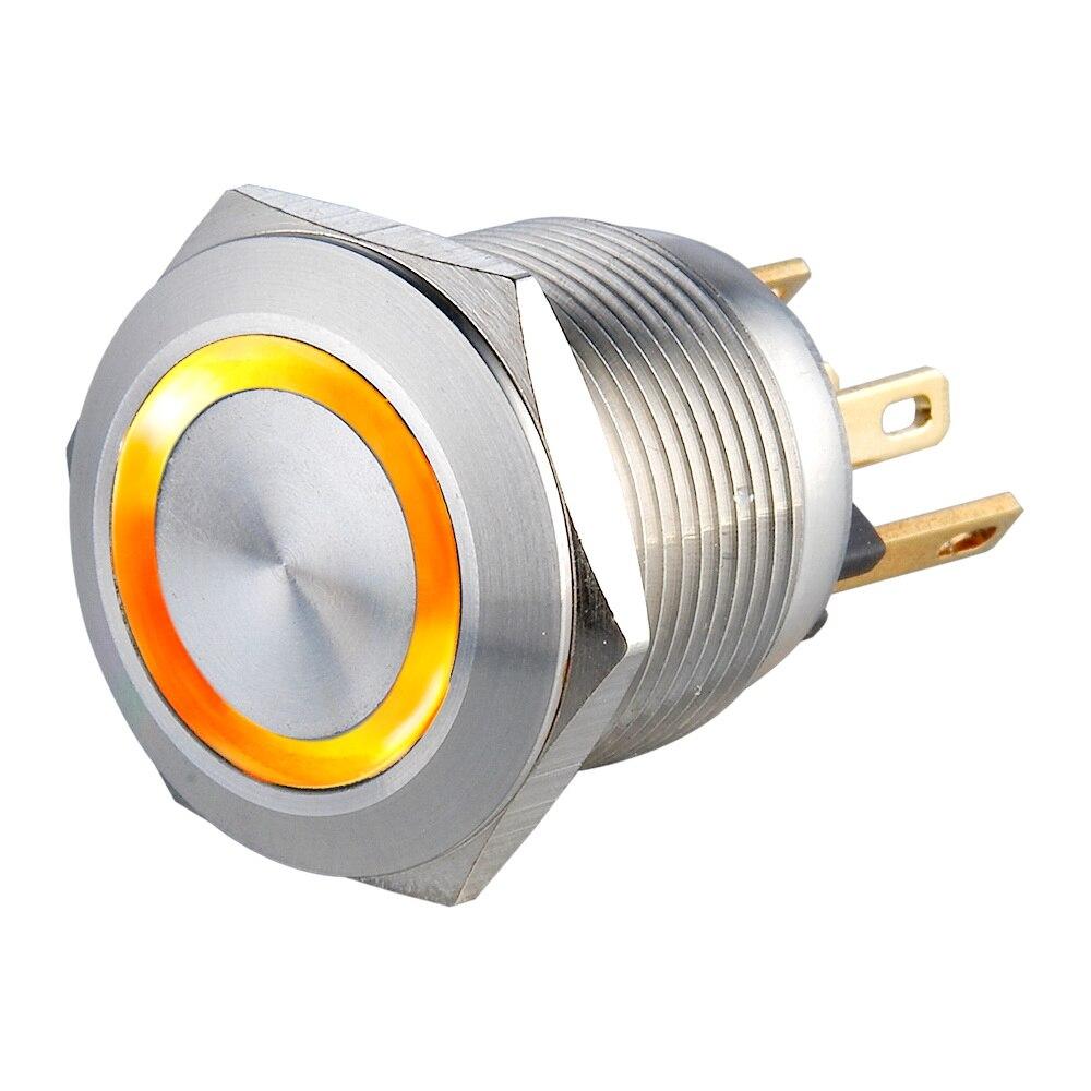19mm 24V Laranja curta viagem 1NO Reajustável Pressão Momentânea Botão Interruptor De Metal Elétrica