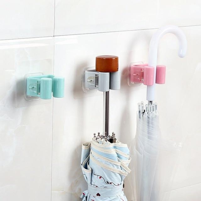 1PC Wall Mounted Mop Rack Hook Bathroom Mop Sticky Hanger Clip Mop Shelf Holder  Home Kitchen Organizer Storage Holders Racks 4