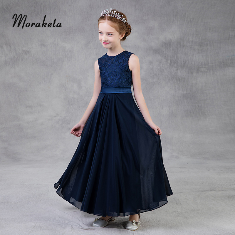 A-line Princess Kids Evening   Dresses   2019 New Navy Blue Long Formal Choir   Dresses   For Kids   Girls   Concert Performance Prom Gown