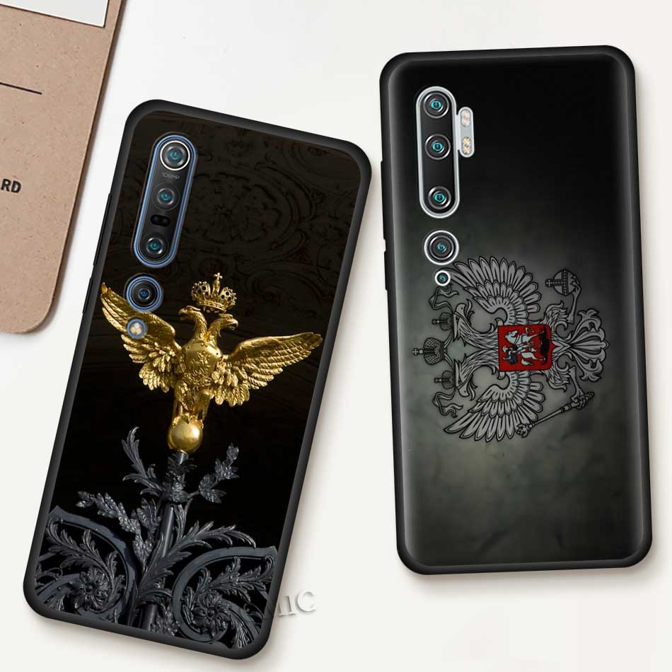 Soft Case For Xiaomi Mi Note 10 9 SE 9T CC9 Pro 5G A3 A2 8 Lite Poco X2 Black Phone Coque Cover Russia Coat Of Arms Eagle Flag