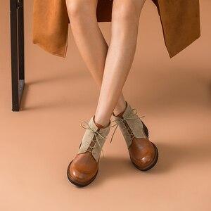Image 4 - Beautoday ankle boots feminino genuíno couro de vaca dedo do pé redondo laço up cores misturadas outono inverno senhora moda botas feitas à mão 03644
