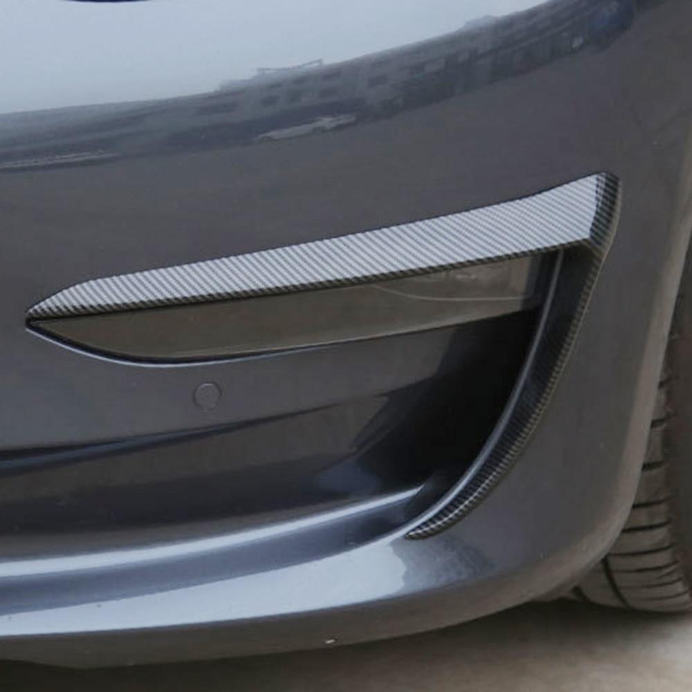 Image 4 - 2 шт. авто передний противотуманный светильник для бровей Веки крышка отделка переднего бампера противотуманный светильник отделка Подходит для Tesla модель 3 автомобильные аксессуары-in Наклейки на автомобиль from Автомобили и мотоциклы