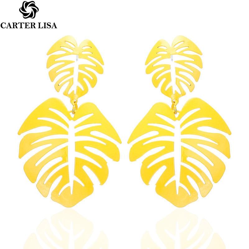 CARTER LISA 2019 Korean Fashion Earrings Metal Openwork Leaves Dangle Drop Earrings For Women Plant Statement Earings Jewelry