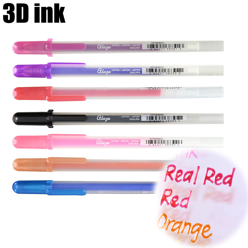 Sakura gelly rolo de canetas glaze, 3 dimensionais, de tinta brilhante, gel, canetas 0.6mm, arte 3d, jel kalem kawaii material de papelaria escolar e arte
