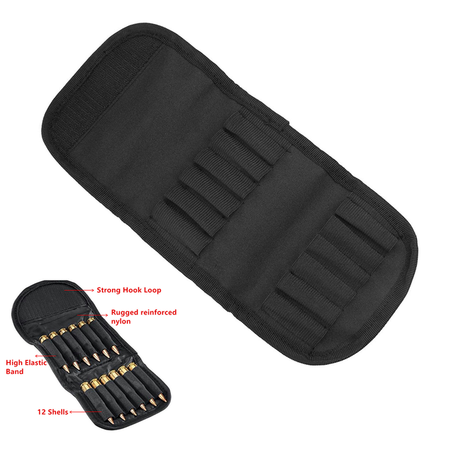 Tactical Rifle Belt 12 Round Foldable Ammo Pouch Hunting Bag Shotgun Bullet Holder Cartridge Carrier Hunting Accessories 1