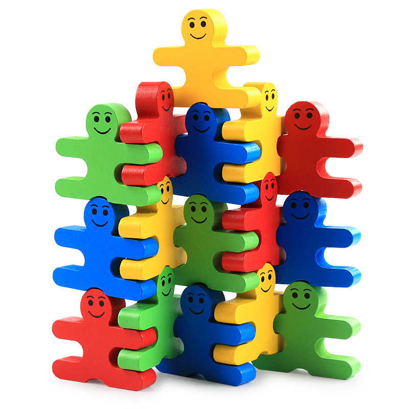 Montessori Toy Wooden Children's Educational Toys Children's Educational Wooden Balance Small Person  Game 16 Pieces / Set Toys